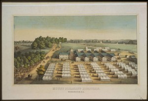 Mt. Pleaseat Hospital in Wasington, D.C. circa 1864. Source: Library of Congress