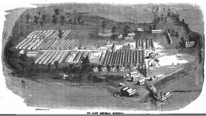De Camp General Hospital, where Arthur Bull was admitted on 18 June 1864 and convalesced during July and August. Source: Westchester County Archives