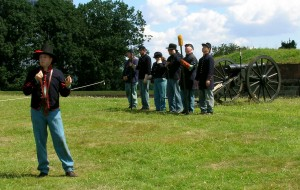 Union soldiers defending Washington in Sept. 1864 drilled daily on the big guns, but disliked standing for inspection. Shown: Union reenactors on Governors Is., N.Y.  Photo by Molly Charboneau
