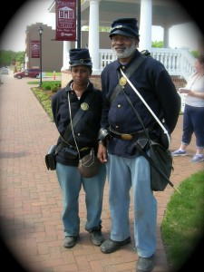 May 2014: 23rd Infantry Regiment USCT re-enactors at Spotsylvania Court House. More than just a fighting force, the Union Army was a symbol of freedom and a safe haven for African Americans and anti-slavery non-combatants who were fleeing the Confederates. Photo: Libary of Congress