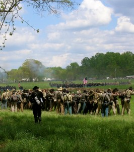 May 2014: Battle of Saunders Field reenactment, Spotsylvania Court House, Va. In Feb. 1865, at the front near Petersburg, Va., where my ancestor was stationed, Union soldiers noticed the Confederates did not charge as they once did. Photo by Molly Charboneau