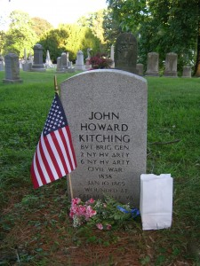 Grave of Bvt. Brig. Gen. J. Howard Kitching -- commander of my ancestor's 6th NYHA regiment -- at Green-Wood Cemetery in Brooklyn, Kings Co., N.Y. His was one of 5,000 stones of Civil War soldiers that received luminaries for Green-Wood's night-time procession on 23 May 2015 marking the 150th Anniversary of the end of the U.S. Civil War. Photo by Molly Charboneau