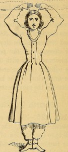 From a book of calisthenics for women (1864). Mary E. (Bull) Tamkins might have have needed these to keep in shape for her many duties: caring for two toddlers and her aging parents, and running a farm while her husband served in the Union Army during the US Civil War. By: Internet Archive Book Images