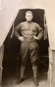 2nd Lieutenant Francis Xavier Dempsey, 26, at the front in Langres, France, during WW I. Big Frank, a lithography transfer and pressman in civilian life, served as a U.S. Army cartographer whose unit helped mechanize military map-making and reproduction in the field. Photo courtesy of Barb/Dempsey Cousins Family Research Team