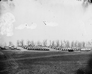 April 1864: Brandy Station, Va. General view of 6th New York Artillery encampment. Source: Library of Congress