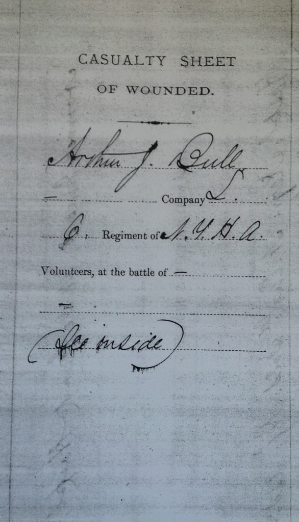 Arthur Bull's Casualty Sheet of Wounded, completed 23 May 1885 when he applied for his Civil War pension. Scan by Molly Charboneau