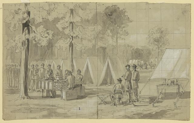 Oct. 1864: Pennsylvania soldiers in the Union Army of the James cast their ballots.