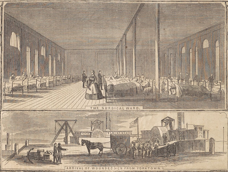 """""""Detail of """"The General Hospital at Fortress Monroe,"""" from Harper's Weekly. New York: Harper & Brothers, 7 June 1862.,"""" University of Virginia Library Online Exhibits, accessed December 27, 2014, http://explore.lib.virginia.edu/items/show/5902."""