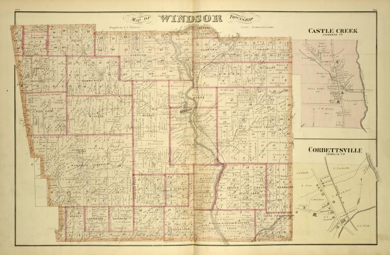 "Lionel Pincus and Princess Firyal Map Division, The New York Public Library. ""Map of Windsor Township; Castle Creek, Chenango TP [Village]; Corbettsville, Conklin TP [Village]"" New York Public Library Digital Collections. Accessed September 26, 2015. http://digitalcollections.nypl.org/items/510d47e3-1bf0-a3d9-e040-e00a18064a99"