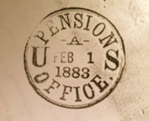 Feb. 1883: U.S. Pension Office stamp on Watertown, Jefferson Co., N.Y. Examining Surgeon's Certificate. Nearly three years after he applied for his Civil War disability pension, my Union Army ancestor Arthur Bull was still seeking compensation. Photo by Molly Charboneau