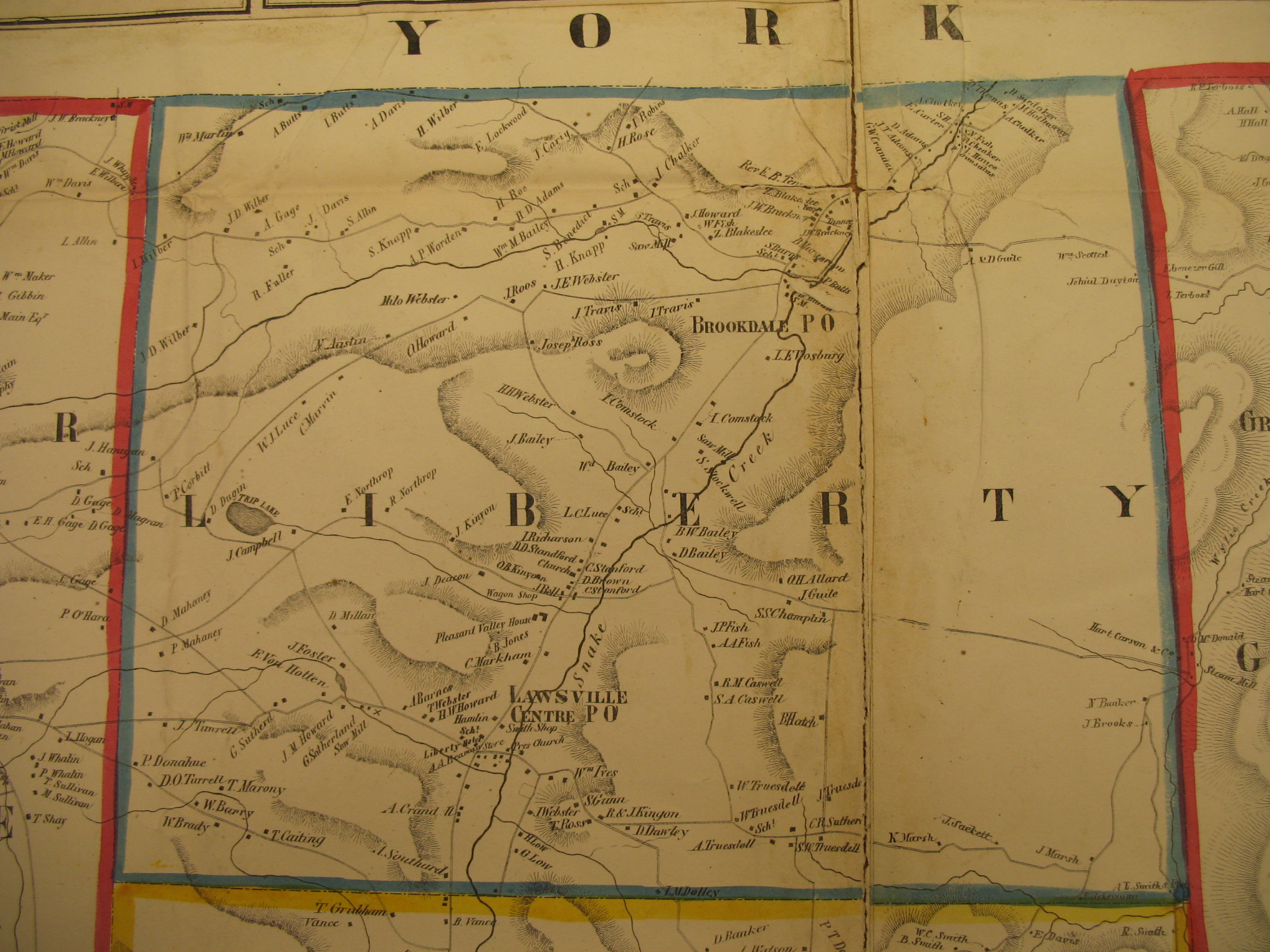 Map of Susquehanna County, Pennsylvania. From Actual Survey by G. M. Hopkins, C. E. (Philadelphia: Lee & Marsh Publishers, 1858). Source: http://ancestortracks.com/Susquehanna_Resources.html