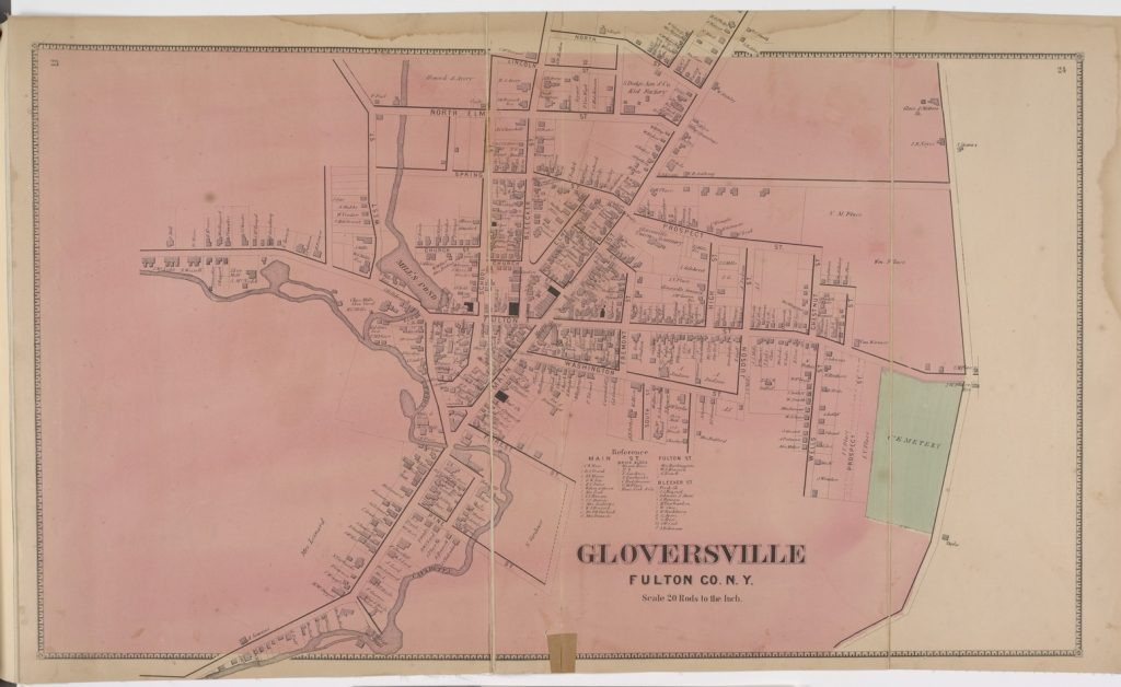 1868 map of Gloversville, Fulton County, N.Y.